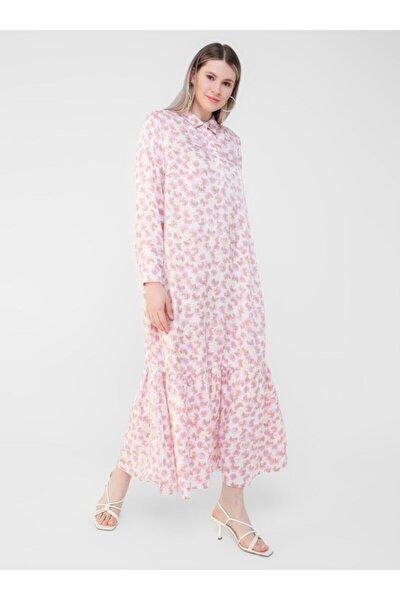 Büyük Beden Desenli Saten Rahat Elbise