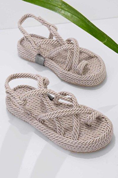 Krem Kadın Sandalet K05787020476