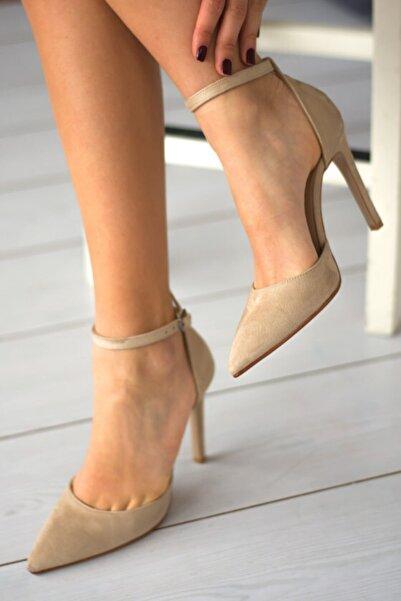 Ten Süet Stiletto Sivri Burun Kadın Topuklu Ayakkabı