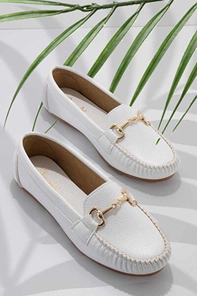 Beyaz Kadın Loafer Ayakkabı K01542022209