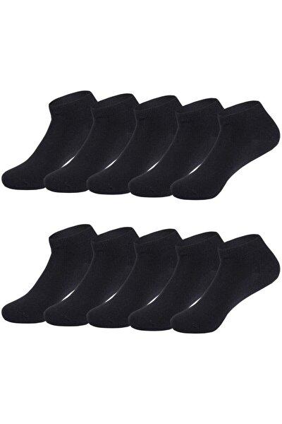 Siyah Pamuklu Bilek Boy Çorap 10lu