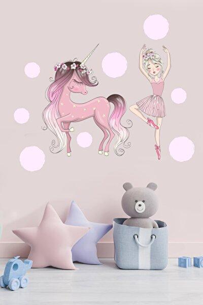 Balerin Ve Unicorn Çocuk Odası Stickeri