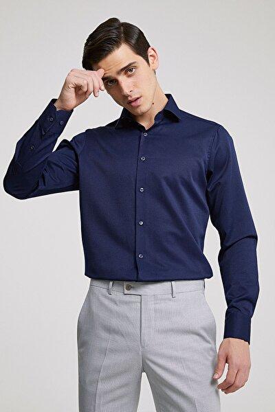 Erkek Gömlek Lacivert Renk Slim Fit