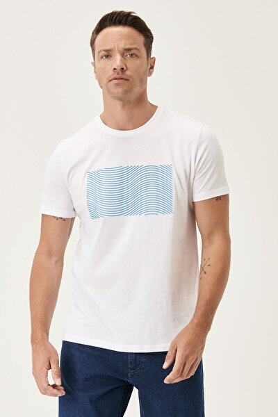 Erkek Beyaz Slim Fit Bisiklet Yaka %100 Koton Tişört