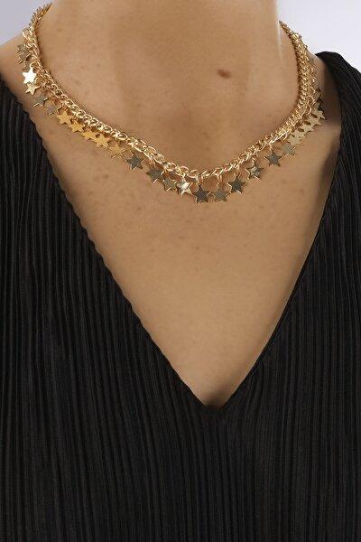 Kadın Altın Renkli Yıldız Figürlü Zincir Kolye