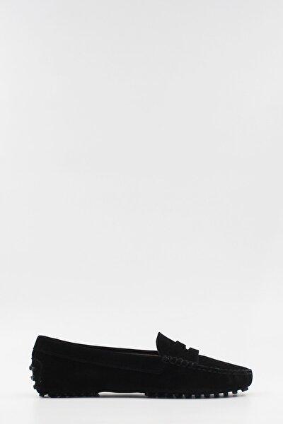 Kadın Loafer Ayakkabı Hakiki Deri Siyah Süet