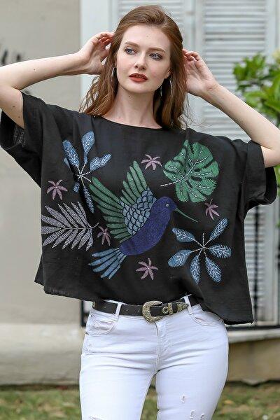 Kadın Siyah Sıfır Yaka Yalı Çapkını Kuş Desenli Salaş Dokuma Bluz M10010200BL95418
