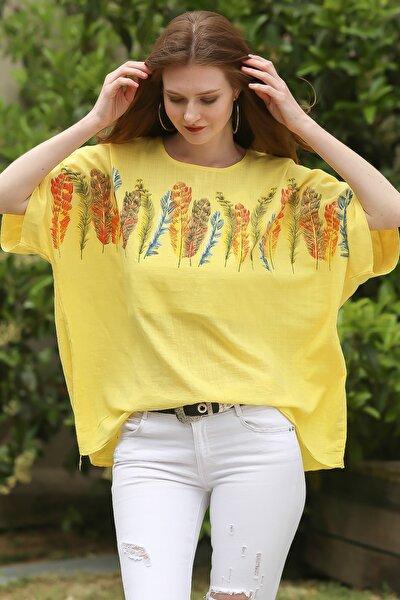 Kadın Sarı Kayık Yaka Tüy Baskılı Oversize Dokuma Bluz C10010200BL95261