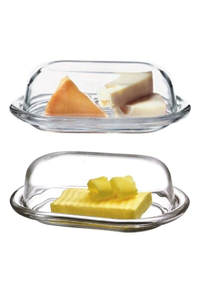 2'li Cam Basic Kapaklı Tereyağlık Peynir Tereyağ Kahvaltılık Saklama & Sunum Kabı