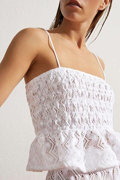Pamuklu Askılı Crochet Top