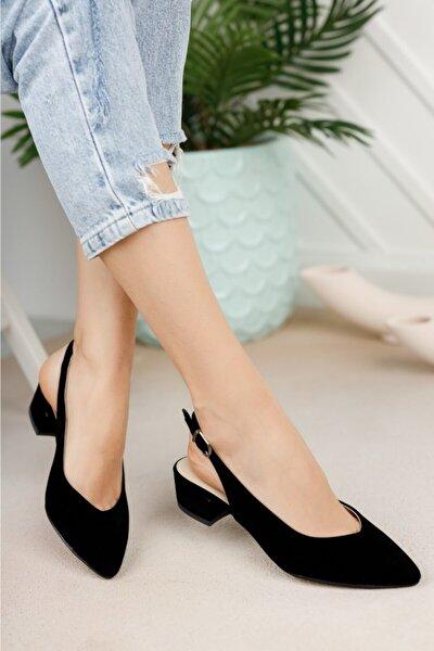 Kadın Siyah Süet Arkası Açık Ayakkabı