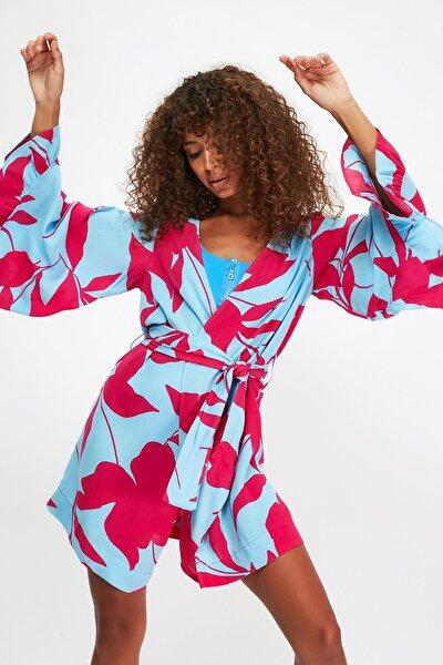 Renkli Çiçek Desenli Volanlı Viskon  Kimono&Kaftan TBESS21KM0002