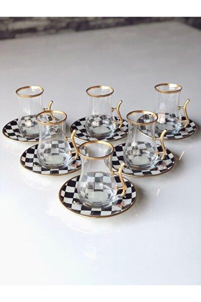 Damalı Çay Seti Kulplu 12 Prç