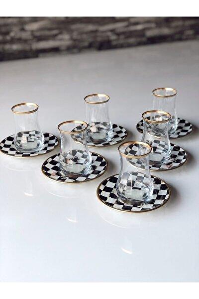Damalı Kelebekli Çay Seti 12 Prç