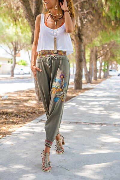 Kadın Haki Yıkamalı Keten Nakışlı Renkli Lastikli Şalvar Pantolon GK-RSD2072