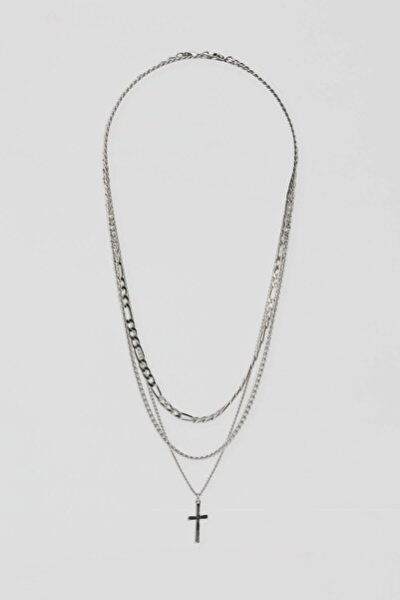 3'Lü Sembol Uçlu Gümüş Rengi Kolye Seti