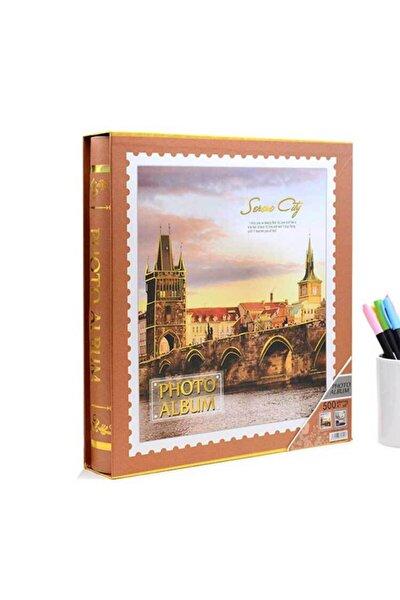 10x15cm 500'lük Desenli Kutulu Fotoğraf Albümü Turuncu