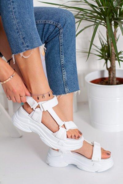 Wendy Yüksek Taban Cırt Cırtlı Sandalet Beyaz