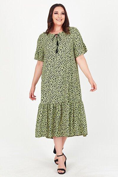 Kadın Yeşil Yakası Bağlamalı Leopar Desenli Büyük Beden Elbise