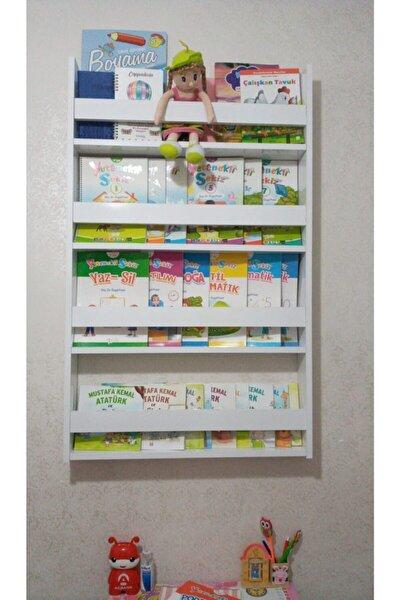 Montessori Çocuk Odası Eğitici Kitaplık 4 Raflı Duvar Rafı