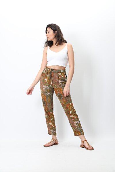 Kadın Yeşil Desenli Dokuma Dar Paça Rahat Pantolon