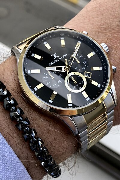 Çelik Kordon Iki Renk Erkek Kol Saati + Bileklik