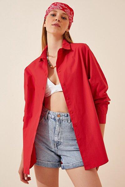 Kadın Kırmızı Oversize Uzun Basic Gömlek  DD00842