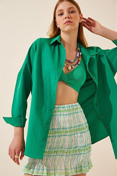 Kadın Koyu Yeşil Oversize Uzun Basic Gömlek  DD00842