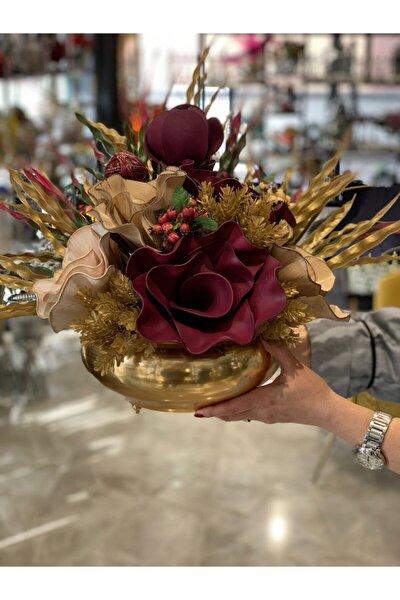 Yapay Çiçek Aranjmalı Gold Yassı Vazo