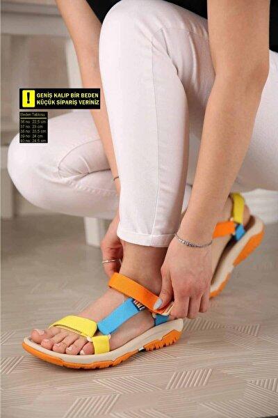 Kadın Sarı Turuncu Mavi Sandalet