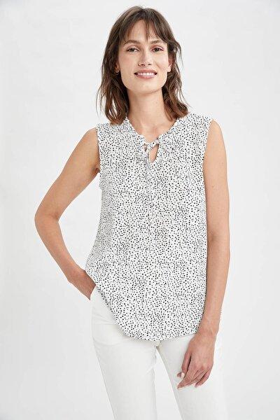 Kadın Beyaz Boyundan Bağlamalı Desenli Kolsuz Dokuma Bluz R6753AZ21SM