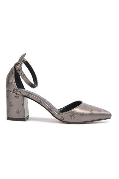 50175 Platin-siyah Kalın Topuklu Ayakkabı