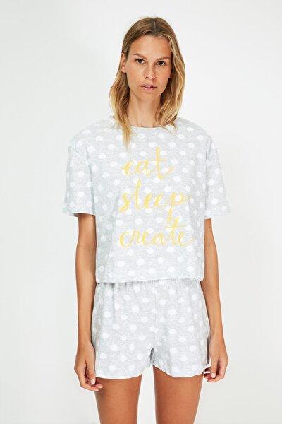 Gri Baskılı Örme Pijama Takımı THMSS21PT1470