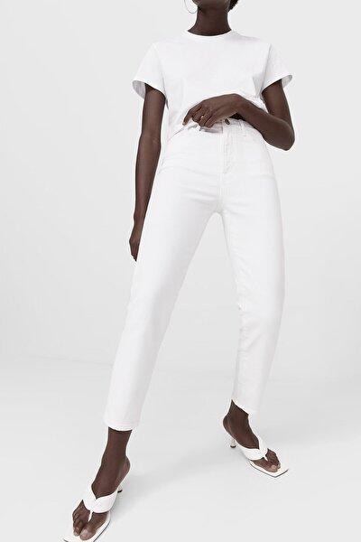 Kadın Beyaz Slim Fit Mom Jean