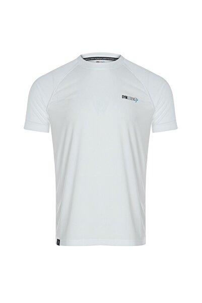 Erkek Beyaz Mikro Polyester Performans Antrenman Sporcu Tişört