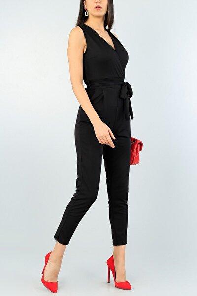 Kadın Kuşak Detaylı Esnek Kumaş Kruvaze Yaka Kolsuz Siyah Abiye Tulum 61100