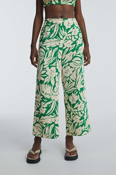 Kadın Yeşil Tropikal Pamuklu Keten Flare Pantolon
