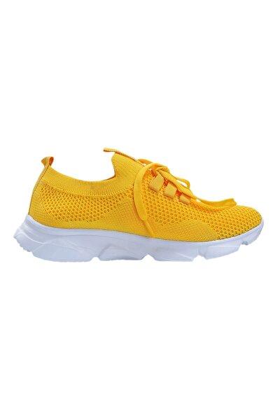 Kadın  Sarı Günlük Triko Spor Ayakkabı