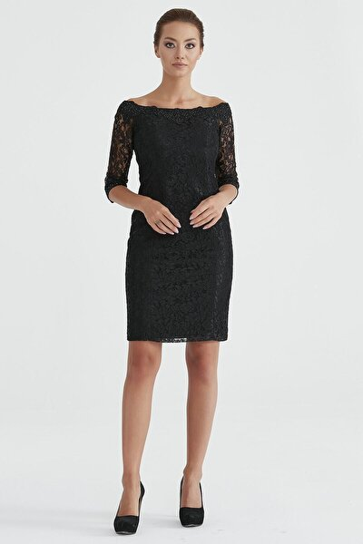 Kadın Siyah Şerit Dantel Elbise 1055