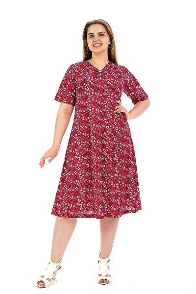 Kadın Büyük Beden Elbise Kısa Kollu Kırmızı Beyaz Papatyalı