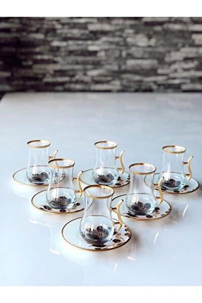 Güllü Kulplu 12 Parça Çay Seti