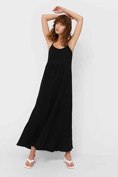 Kadın Siyah Rustik Midi Elbise