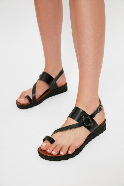 Siyah Hakiki Deri Kadın Sandalet TAKSS21SD0038