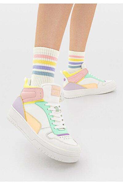 Kadın Çok Renkli Dekoratif Parçalı Yüksek Bilekli Spor Ayakkabı 19006770