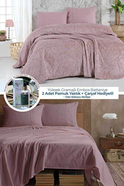Embos Battaniye Çift Kişilik Pamuk Çarşaf Yastık Set Hediyeli Gülkurusu