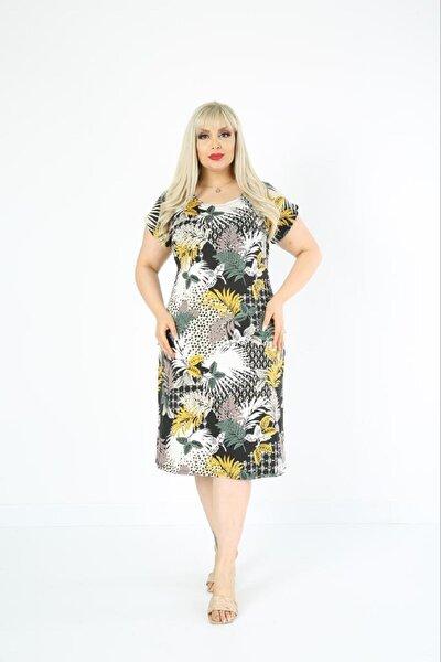 Kadın Büyük Beden Yeşil Yaprak Desenli Elbise