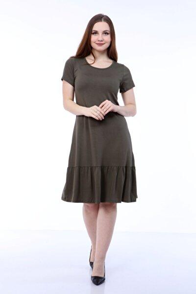 Kadın Haki Fırfırlıkısa Kol Elbise