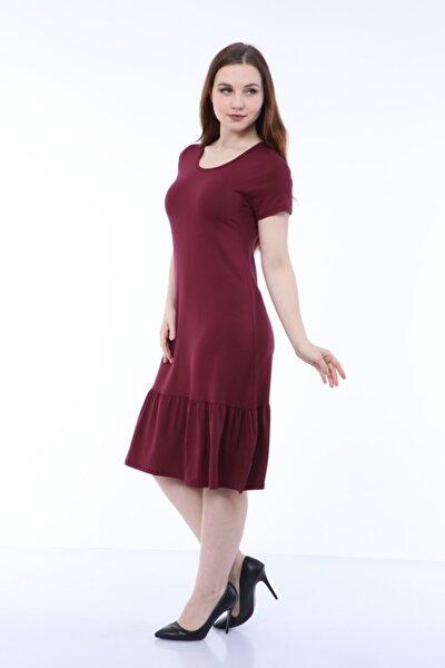 Kadın Bordo Kısakol Fırfırlı Elbise