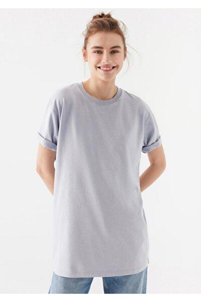 Kadın Mor Basic Tişört