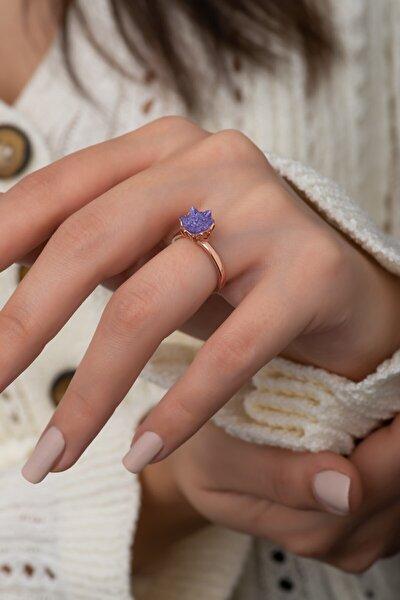 925 Ayar Gümüş Rose Altın Kaplama Mor Taşlı Lotus Çiçeği Yüzük